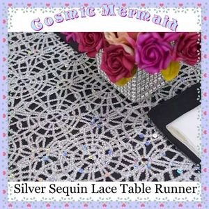Other - (12) LUXURY🆕⭐️Silver Lace Sequin Table Runners⭐️
